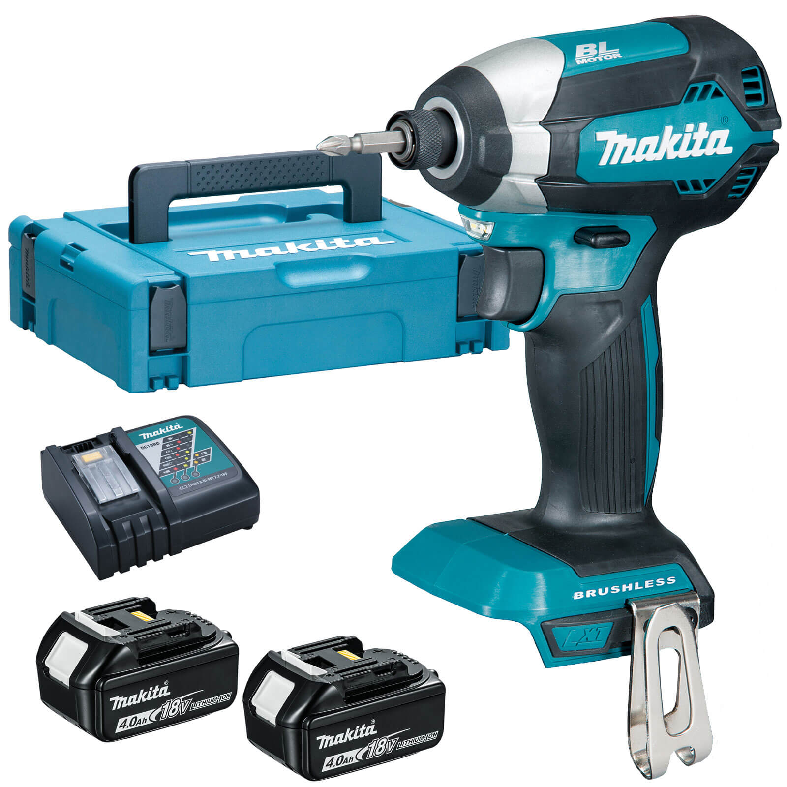 makita dtd153 18v cordless lxt brushless impact driver 2 x 4ah li ion charger case. Black Bedroom Furniture Sets. Home Design Ideas