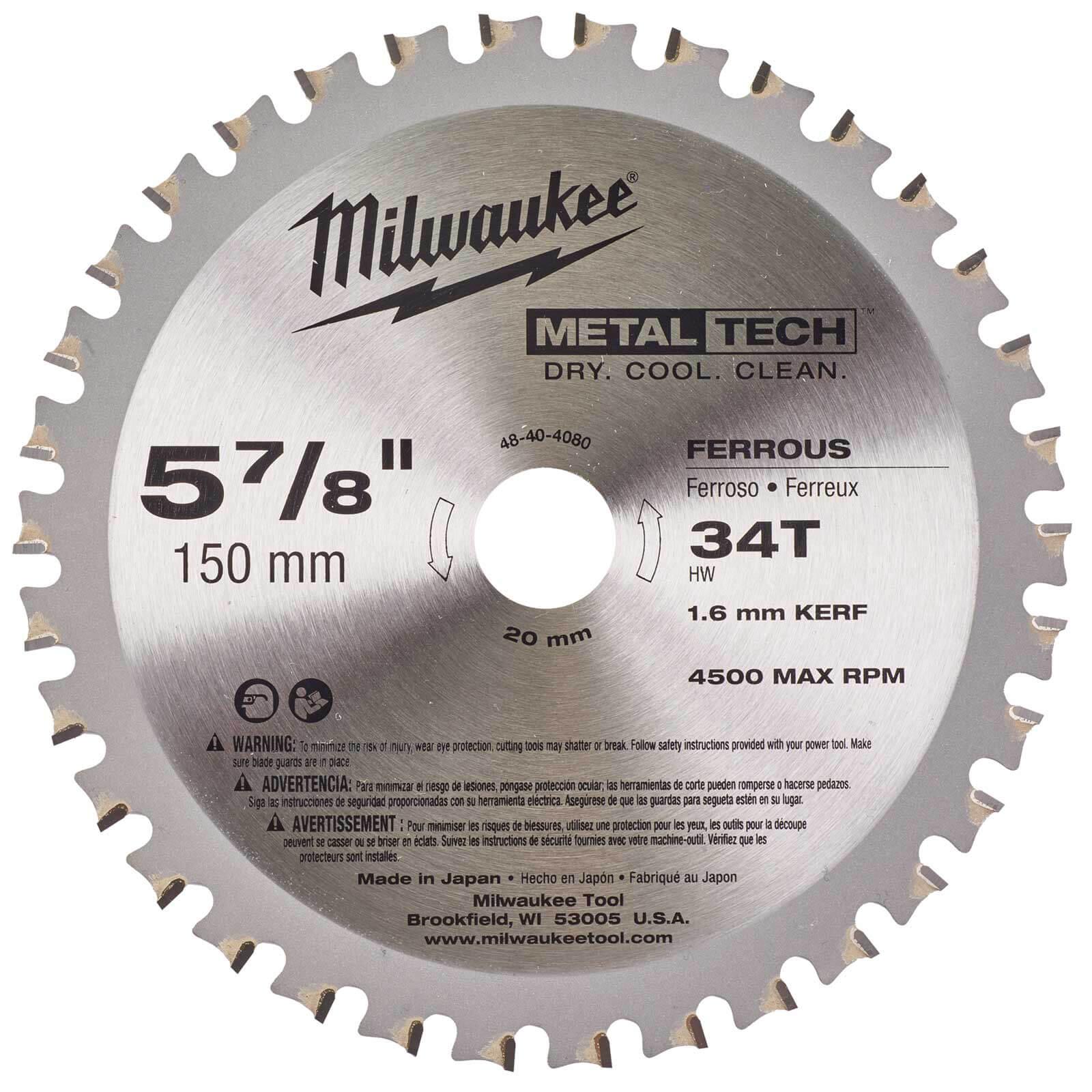 Image of Milwaukee Endurance Metal Steel Cutting Circular Saw Blade 150mm 34T 20mm