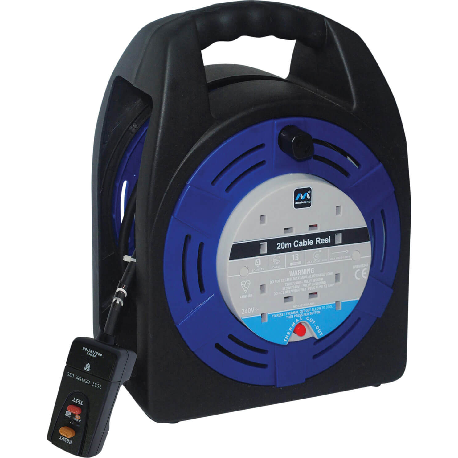 Wind Up Extension Lead : Masterplug socket cable extension reel rcd m