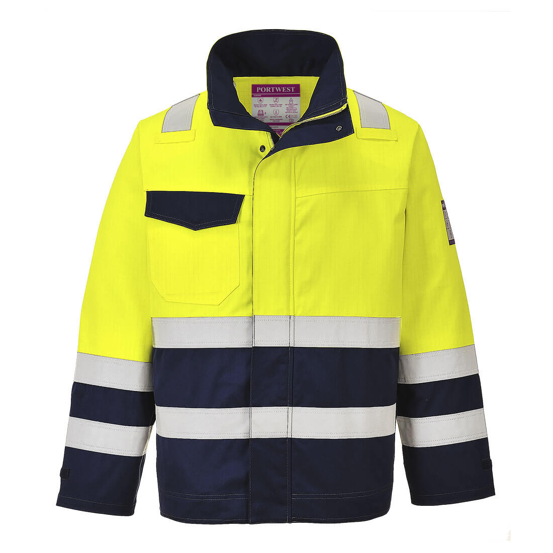 Image of Modaflame Flame Resistant Hi Vis Jacket Yellow / Navy 2XL