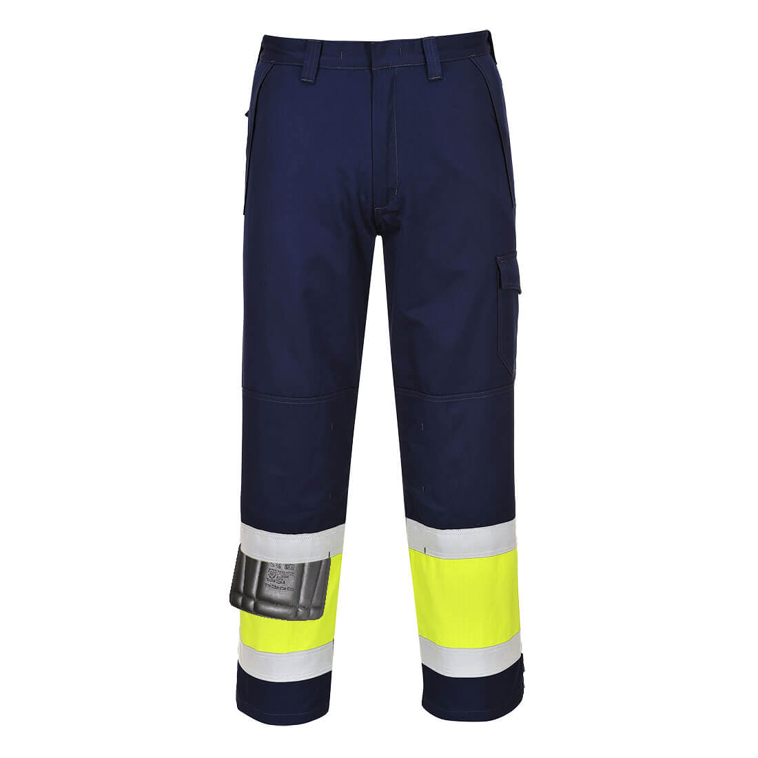 """Image of Modaflame Mens Flame Resistant Hi-Vis Trousers Yellow / Navy 2XL 34"""""""