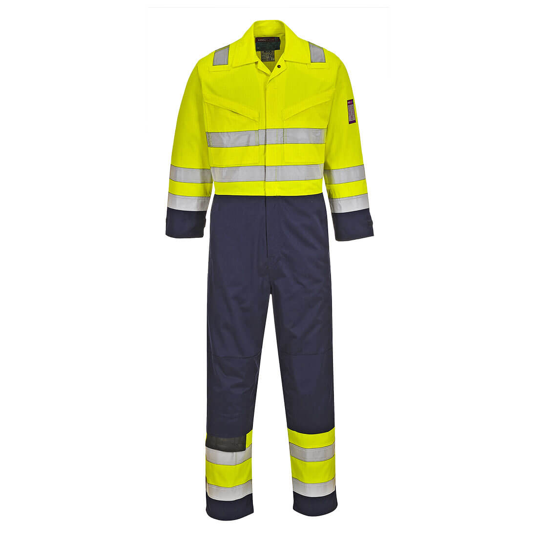 """Image of Modaflame Flame Resistant Hi Vis Overall Yellow / Navy Medium 34"""""""