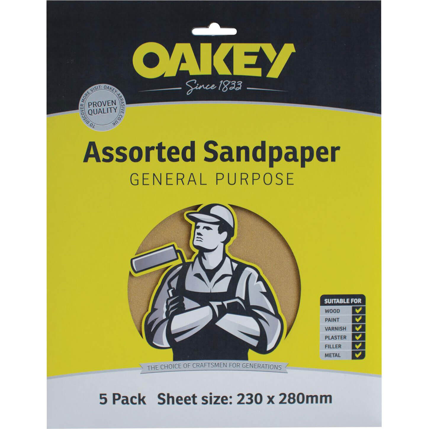 Image of Oakey Glasspaper Sandpaper Assorted Grit Pack of 10