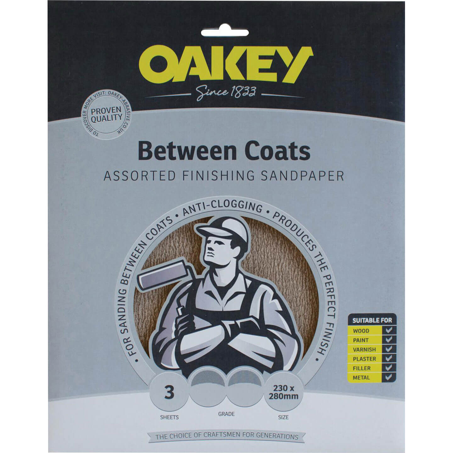 Image of Oakey Between Coats Silicon Sandpaper Fine Pack of 3