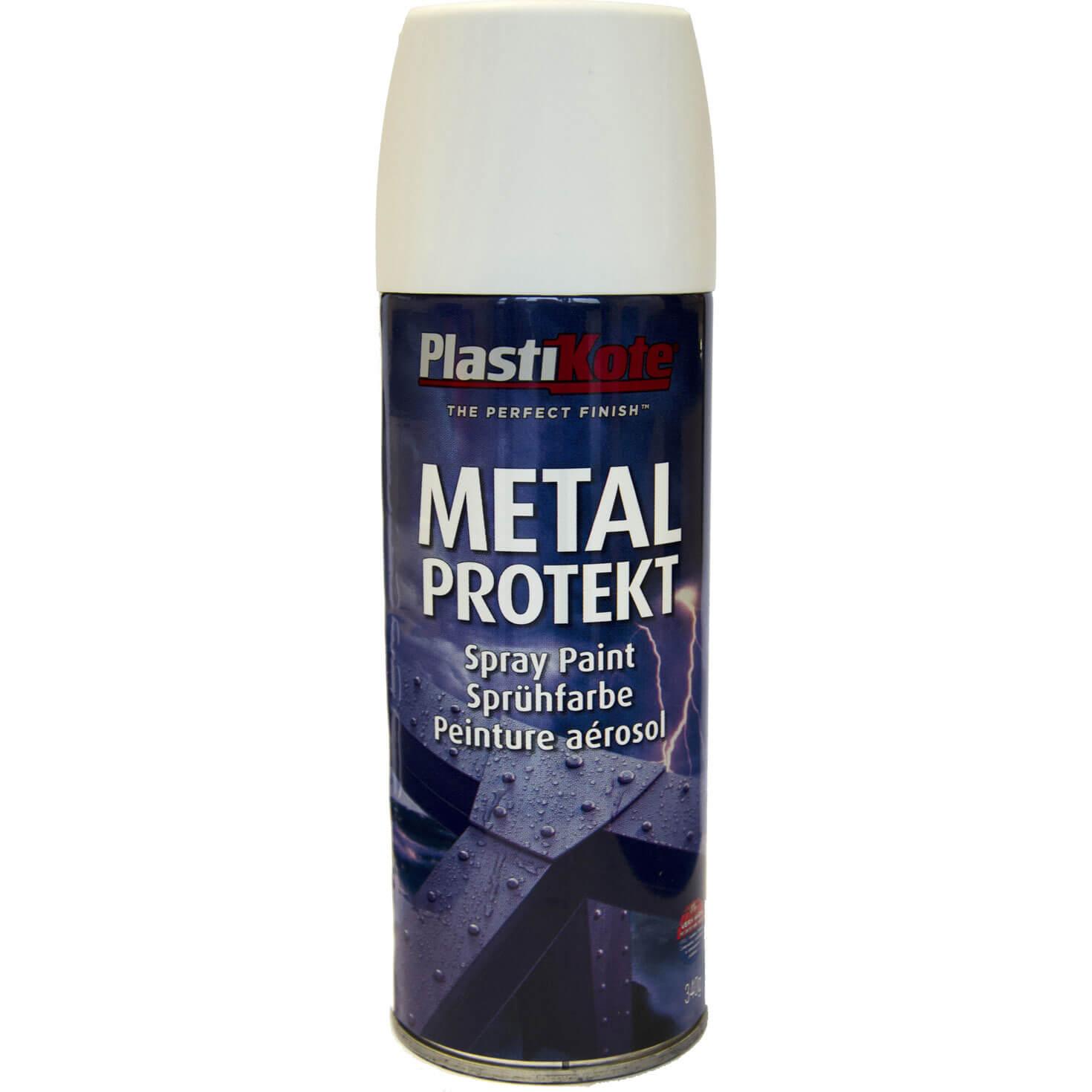Plastikote Metal Protekt Aerosol Spray Paint Satin White 400ml