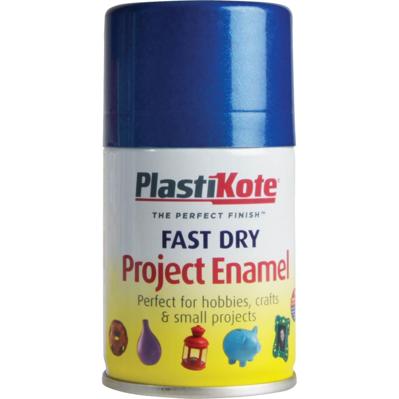 Image of Plastikote Dry Enamel Aerosol Spray Paint Blue 100ml