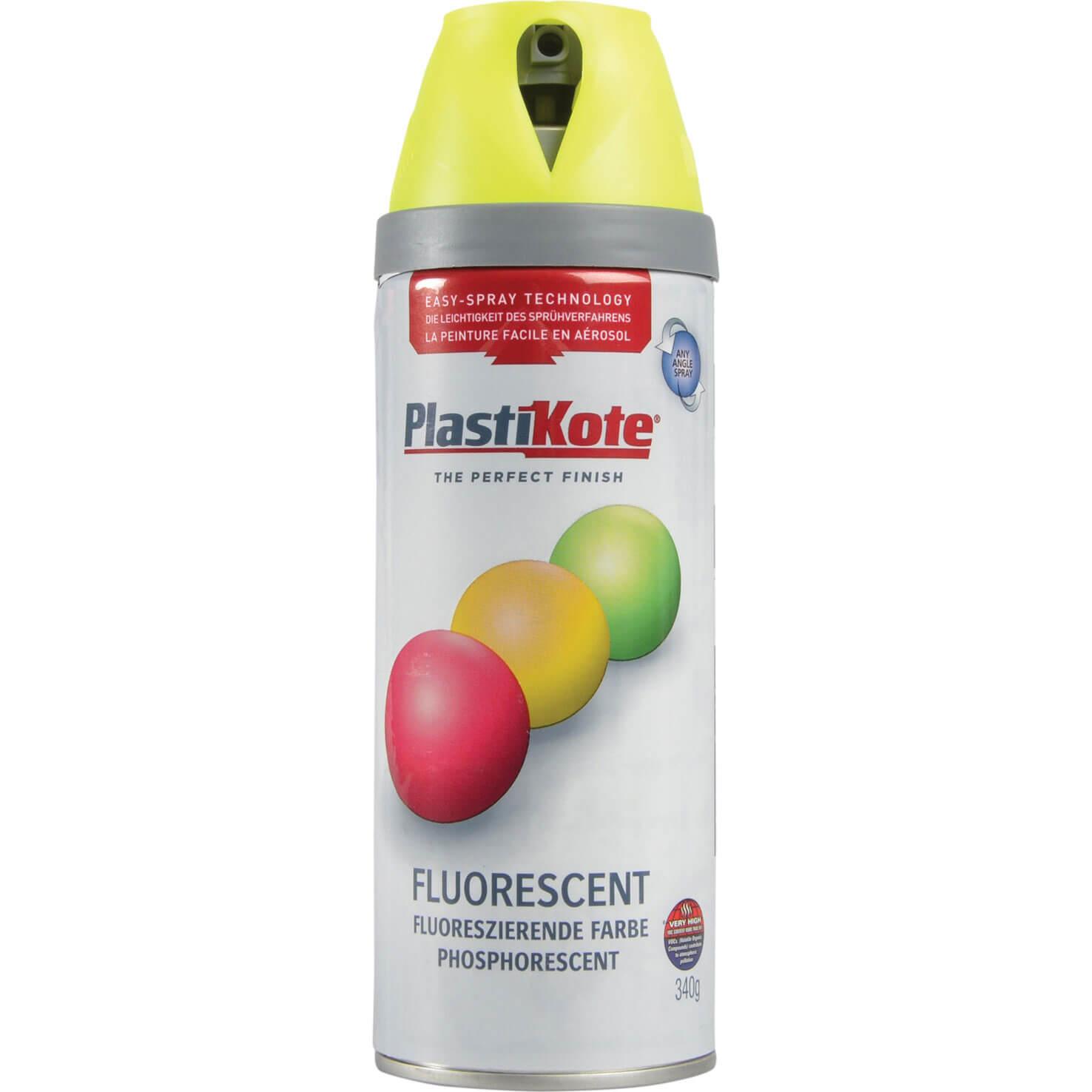 Image of Plastikote Twist & Spray Fluorescent Aerosol Spray Paint Yellow 400ml