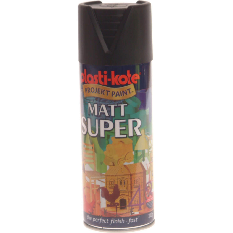 Plastikote Super Matt Aerosol Spray Paint Black 400ml
