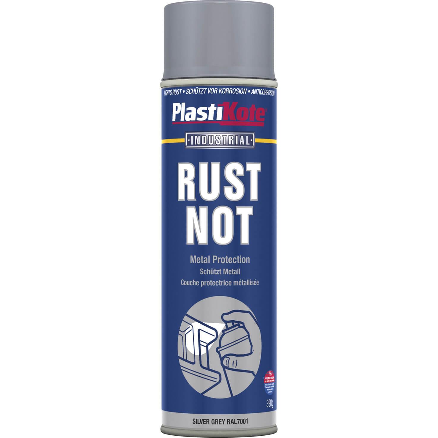 Image of Plastikote Rust Not Aerosol Spray Paint Silver Grey 500ml