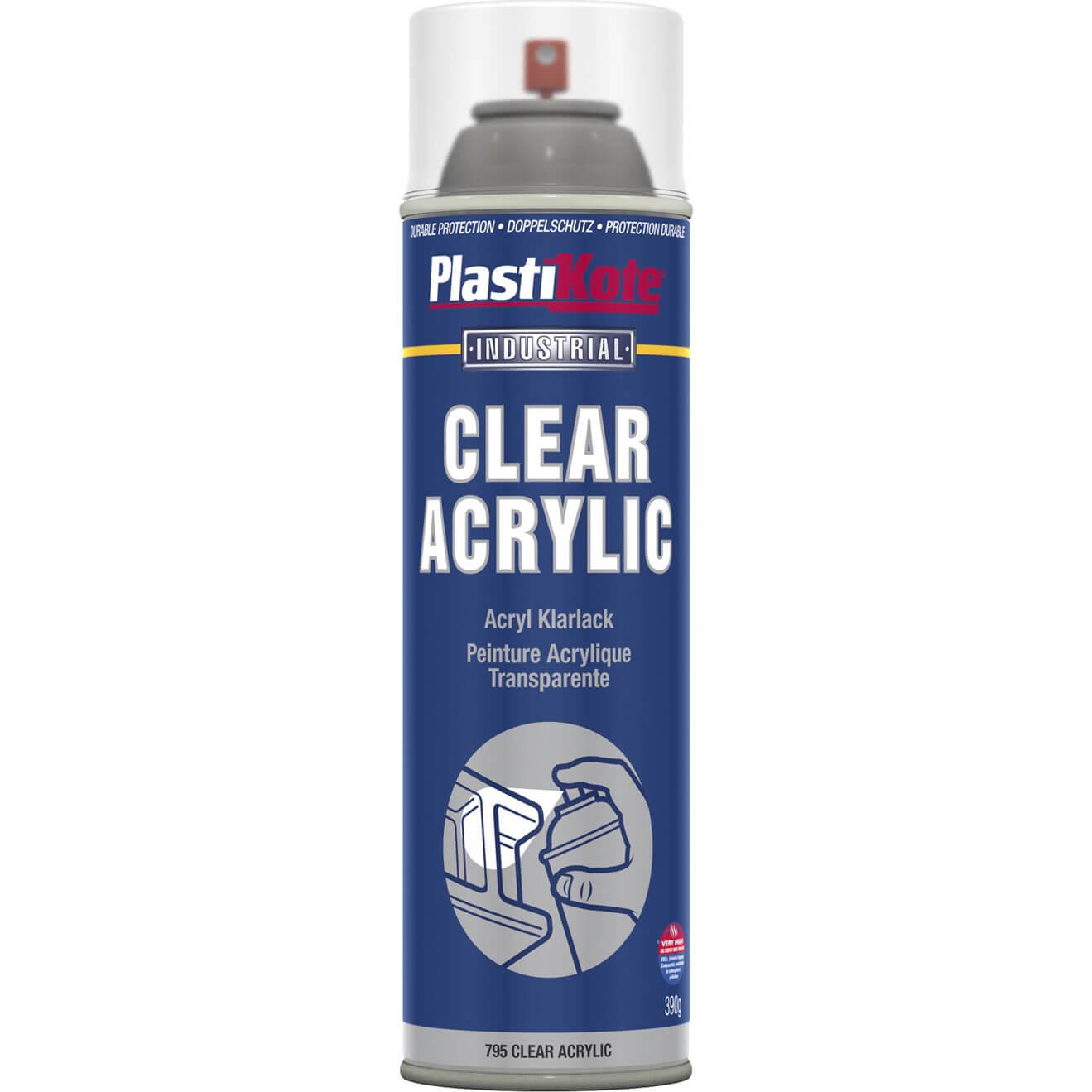 Image of Plastikote Industrial Clear Acrylic Aerosol Spray Paint 500ml