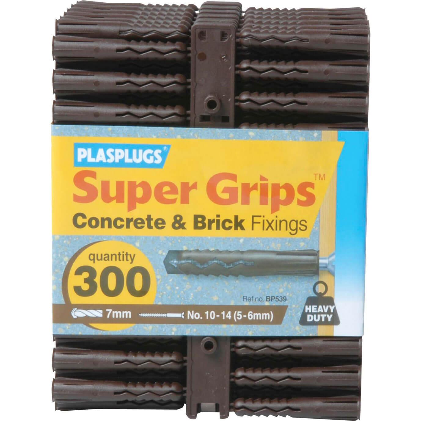 Image of Plasplugs Heavy Duty Super Grips Concrete & Brick Fixings Pack of 300