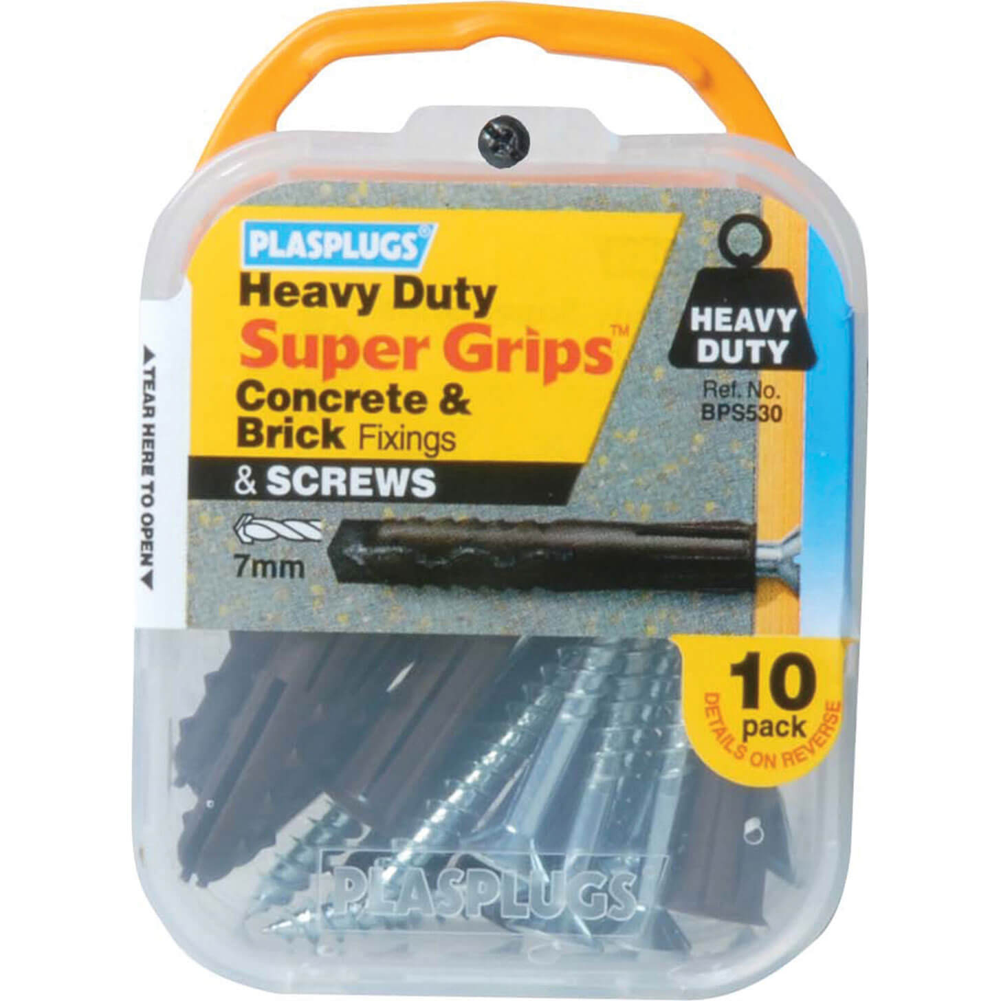 Image of Plasplugs Heavy Duty Super Grips Concrete & Brick Fixings Pack of 10