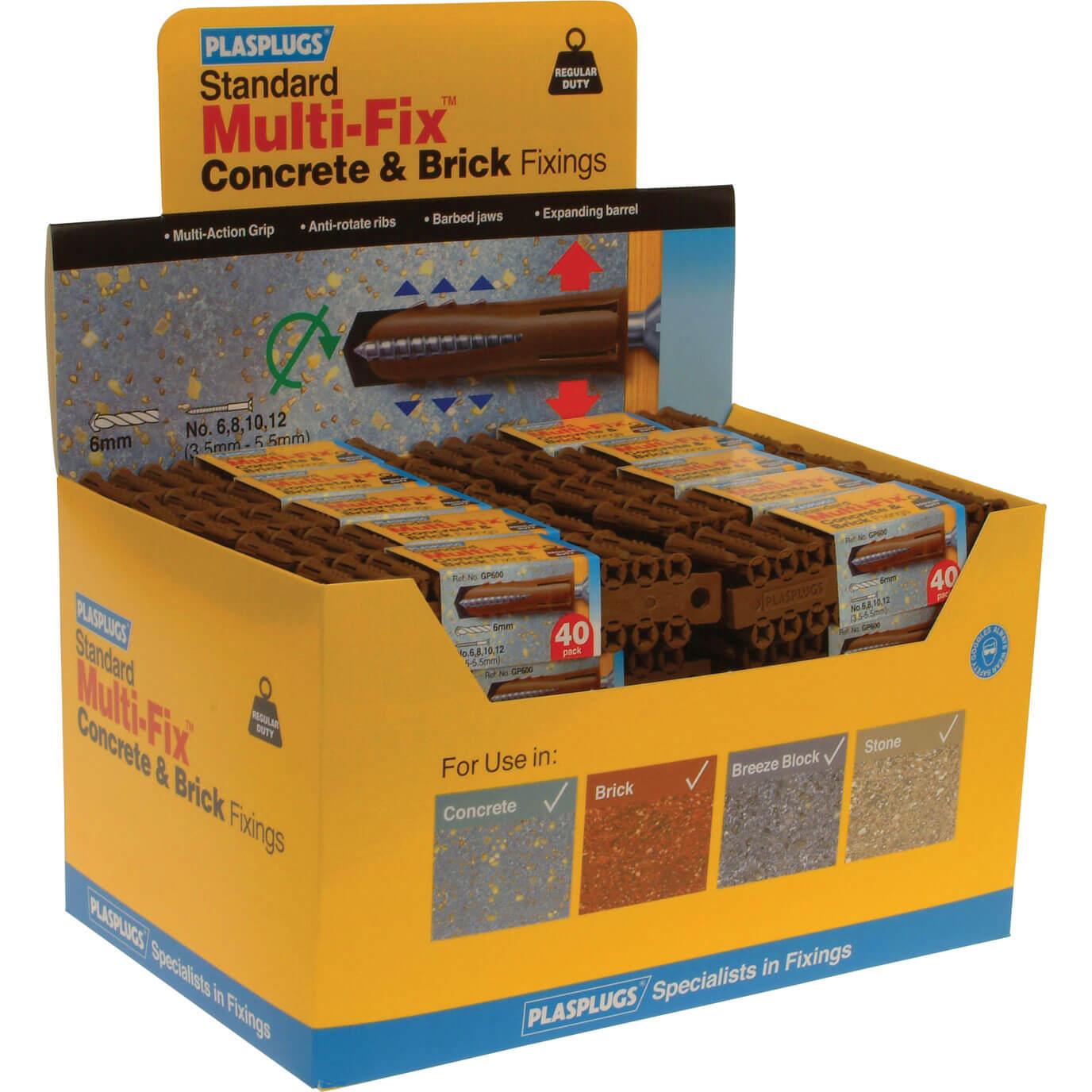 Image of Plasplugs Heavy Duty Multifix Concrete & Brick Fixings Pack of 2000