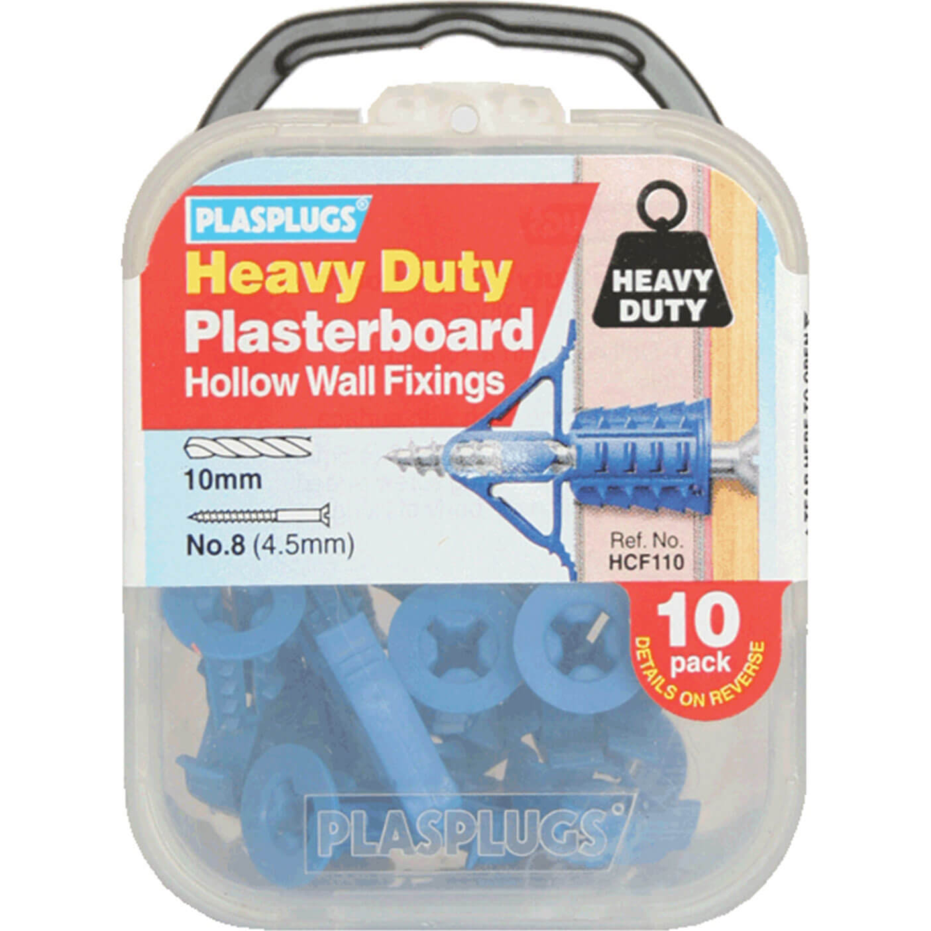 Image of Plasplugs Heavy Duty Plasterboard Hollow Wall Fixings Pack of 10