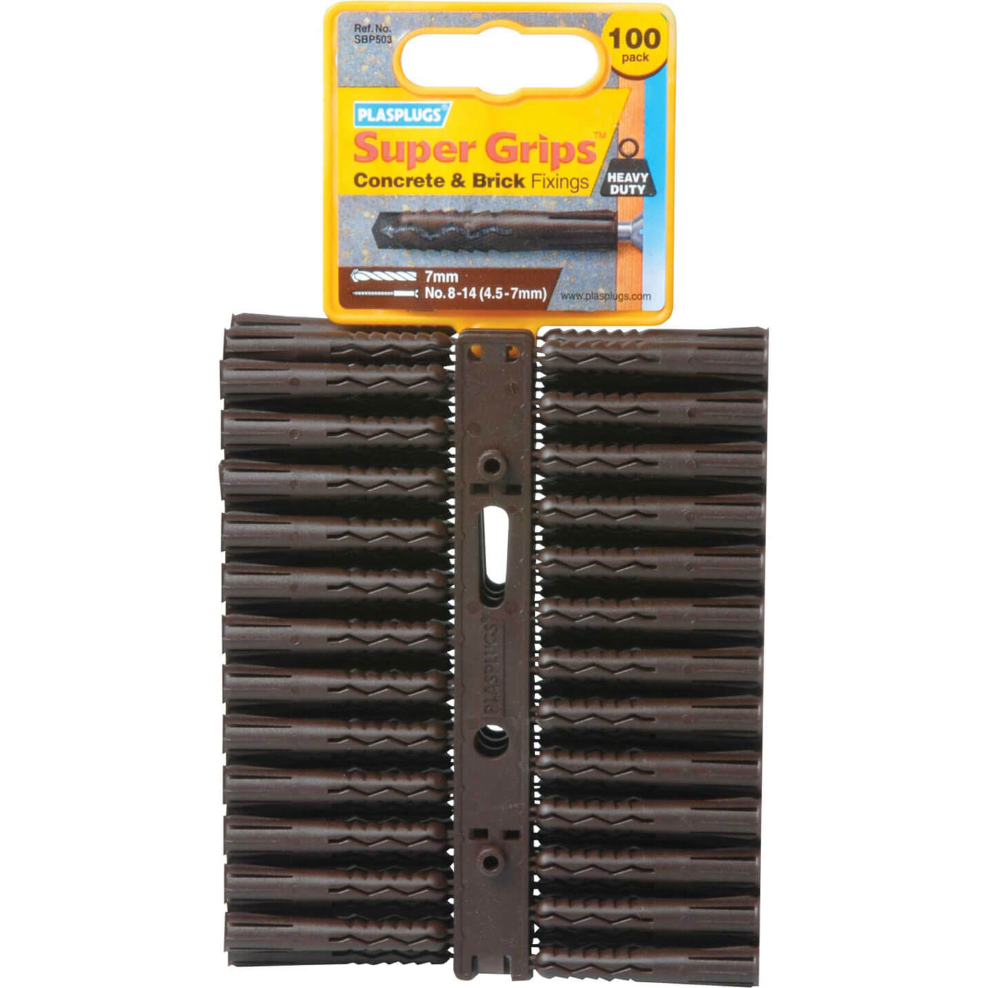 Image of Plasplugs Heavy Duty Super Grips Concrete & Brick Fixings Pack of 100