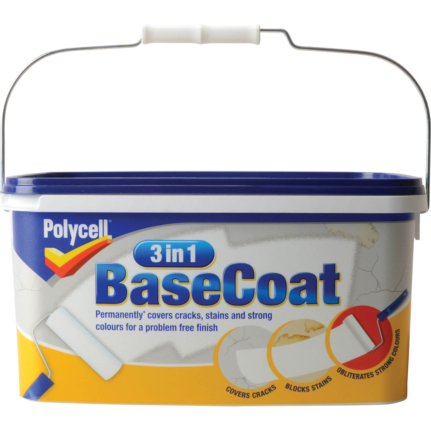 Image of Polycell 3 in 1 Basecoat Wall Paint White 5l