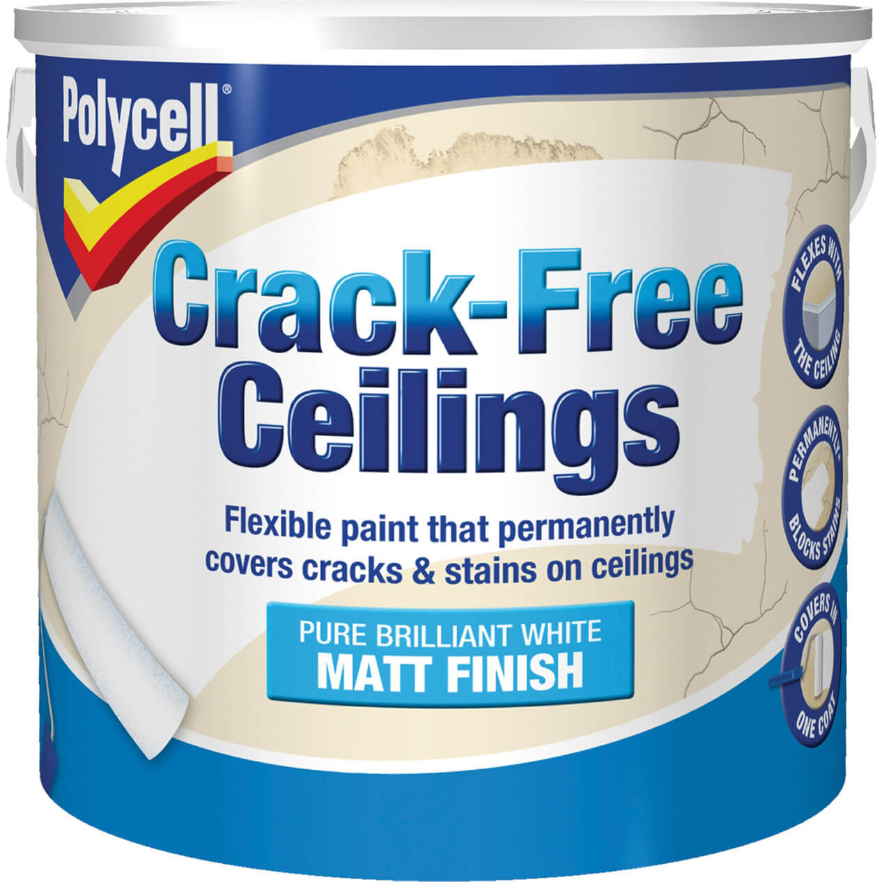Image of Polycell Crack Free Ceiling Paint Smooth Matt 2.5l