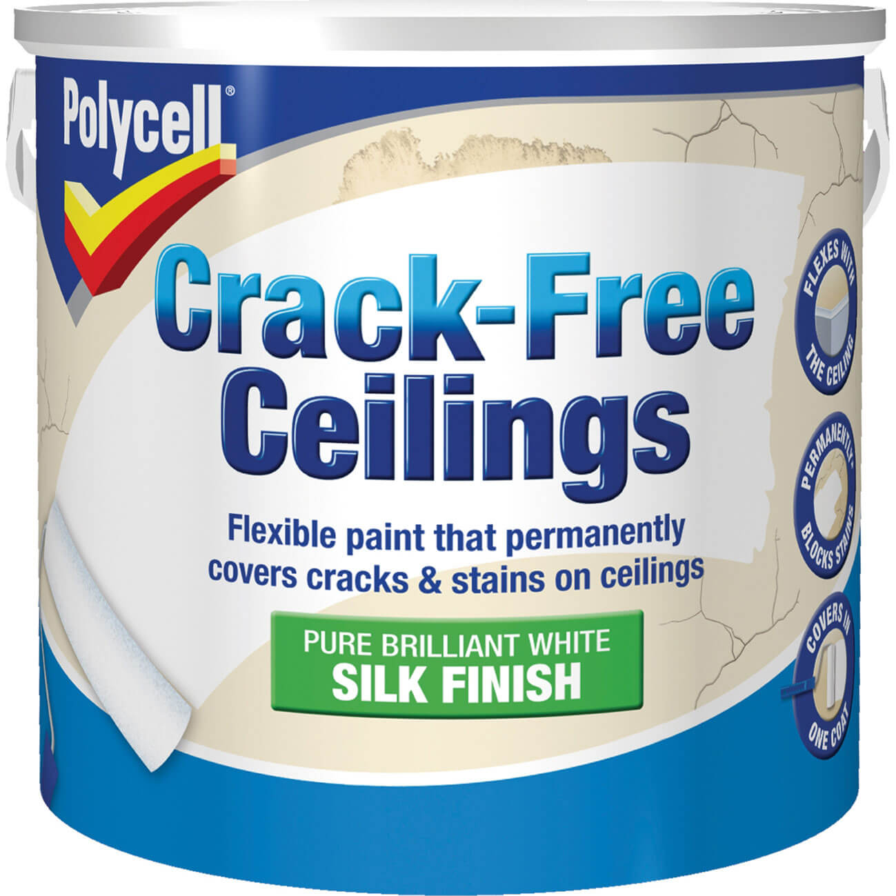 Image of Polycell Crack Free Ceiling Paint Smooth Silk 2.5l
