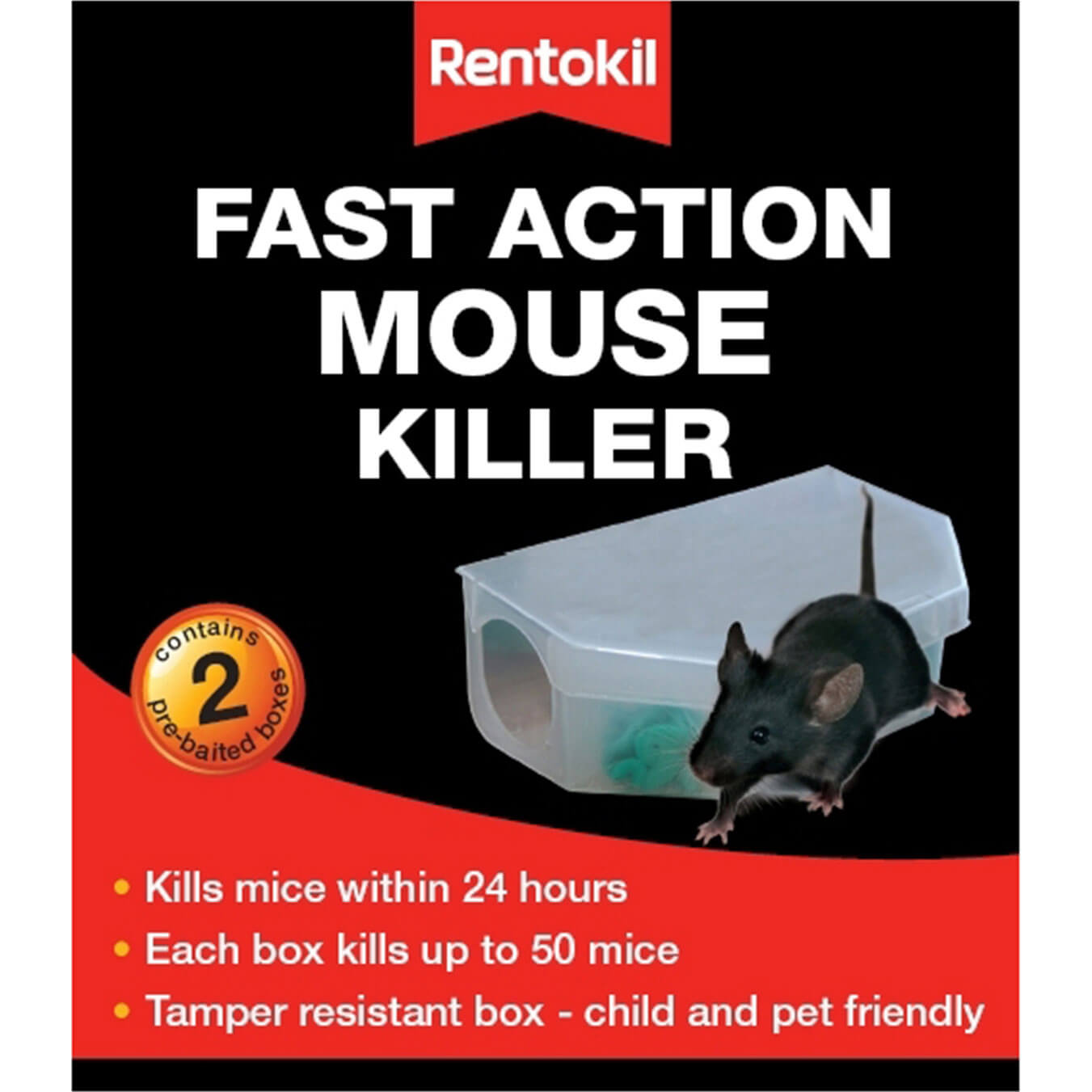Image of Rentokil Fast Action Mouse Killer Pack of 2