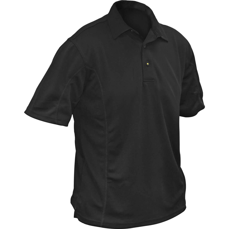 Roughneck Mens Quick Dry Polo Shirt Black 2XL
