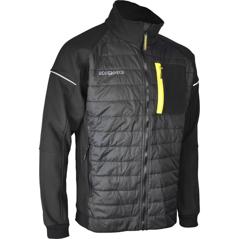 Roughneck Mens Hybrid Soft Shell Jacket Black / Yellow M