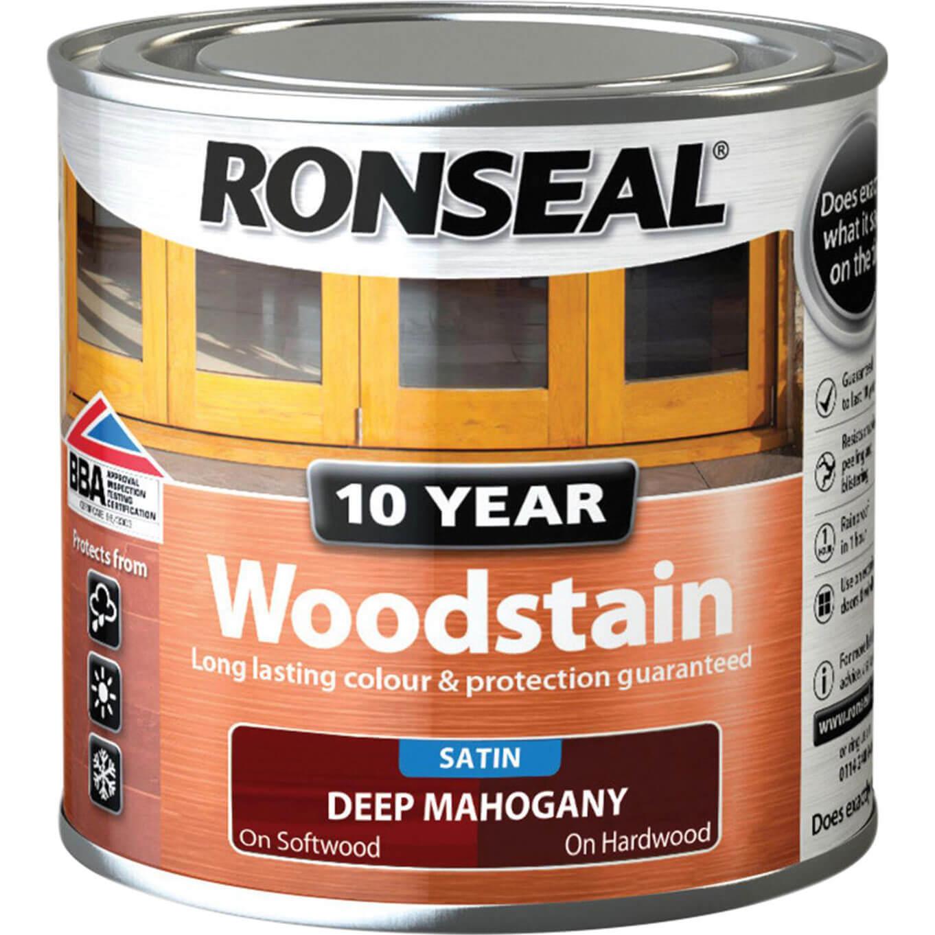 Image of Ronseal 10 Year Wood Stain Deep Mahogany 250ml