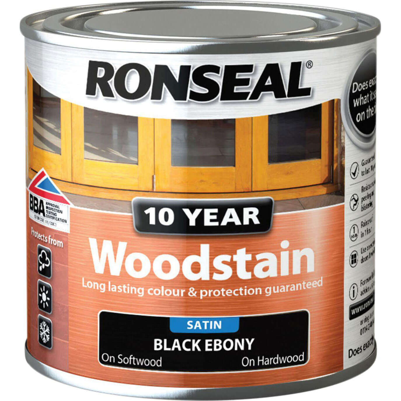Image of Ronseal 10 Year Wood Stain Ebony 250ml
