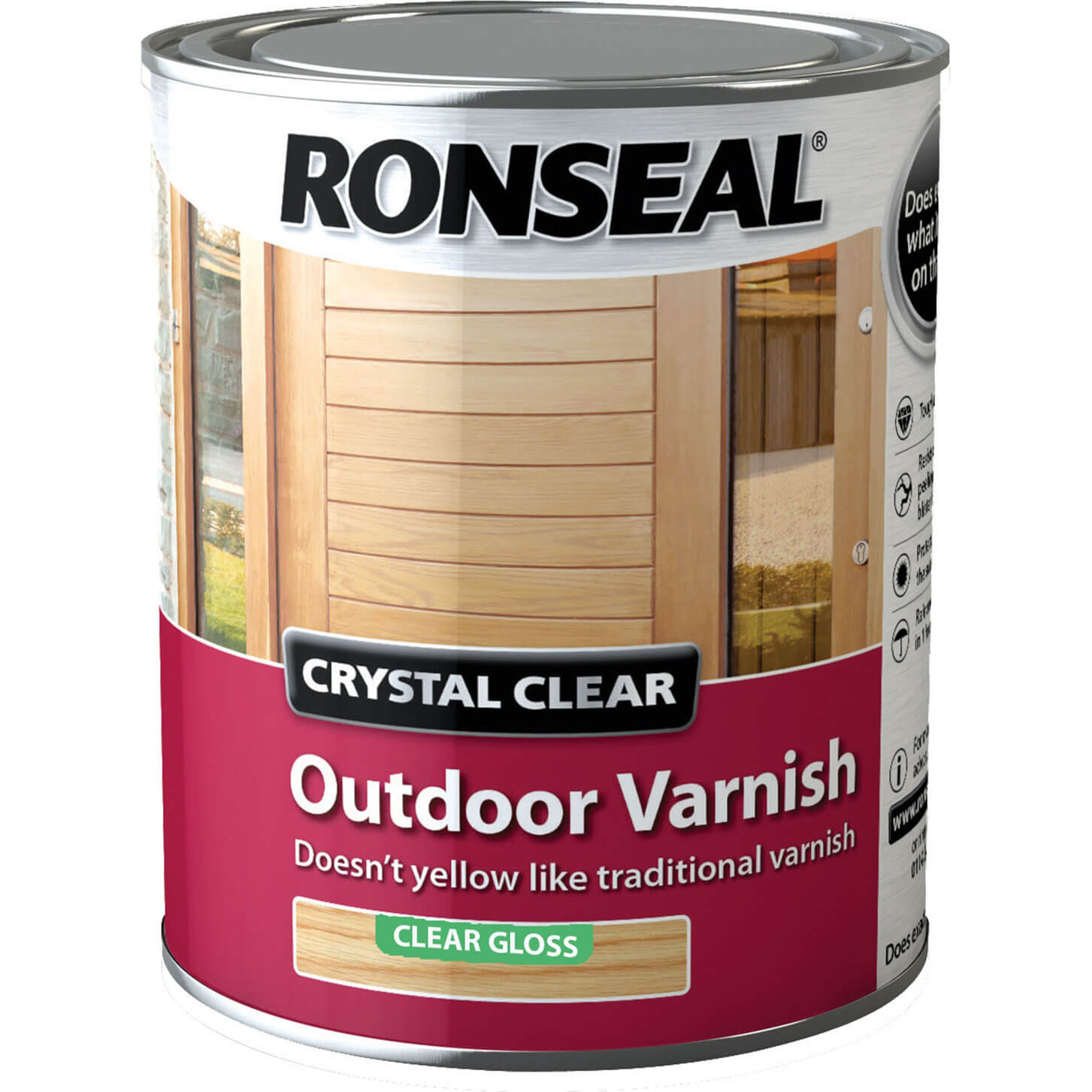 Image of Ronseal Crystal Clear Outdoor Varnish Clear 2.5l