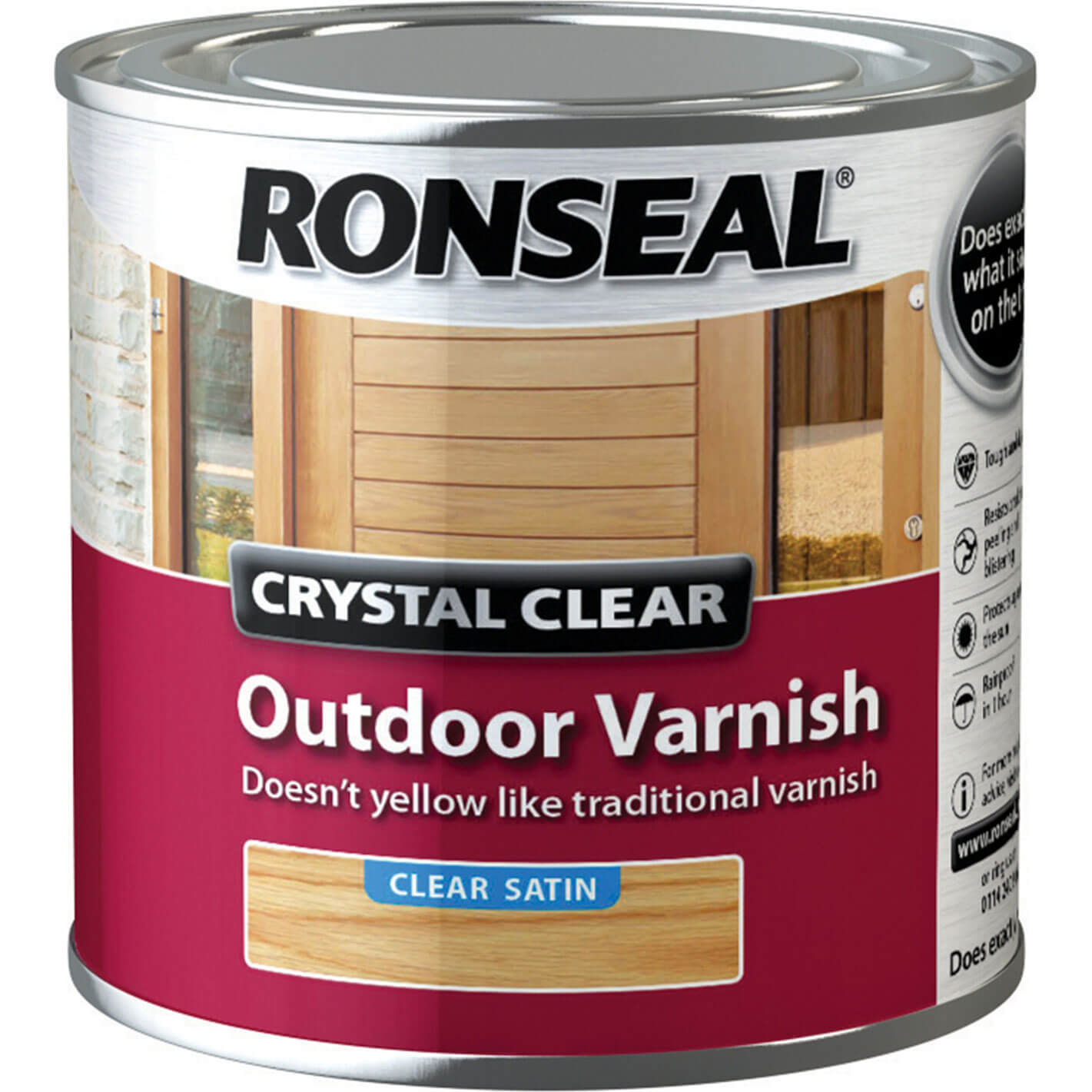 Image of Ronseal Crystal Clear Outdoor Varnish Satin 250ml