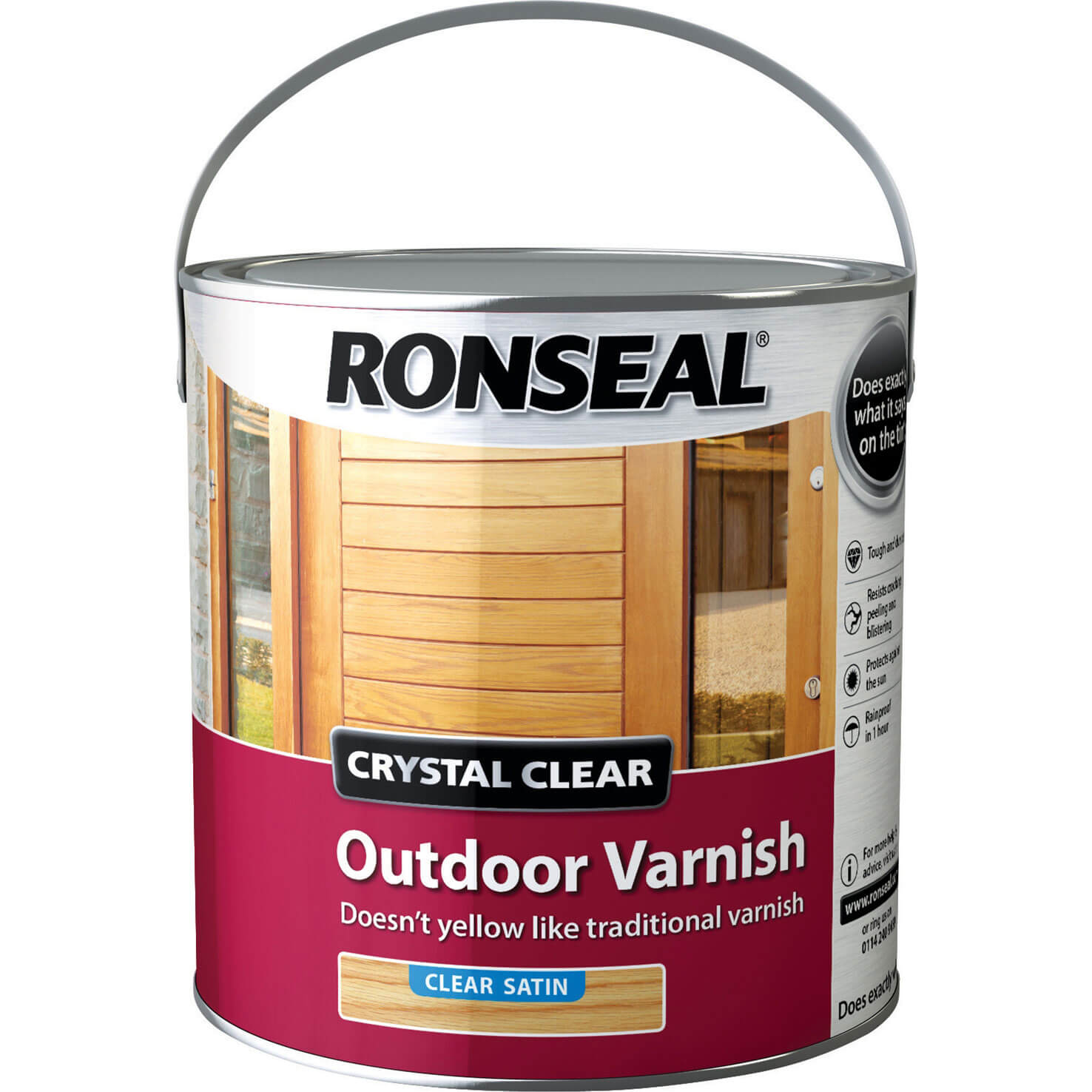 Image of Ronseal Crystal Clear Outdoor Varnish Satin 2.5l