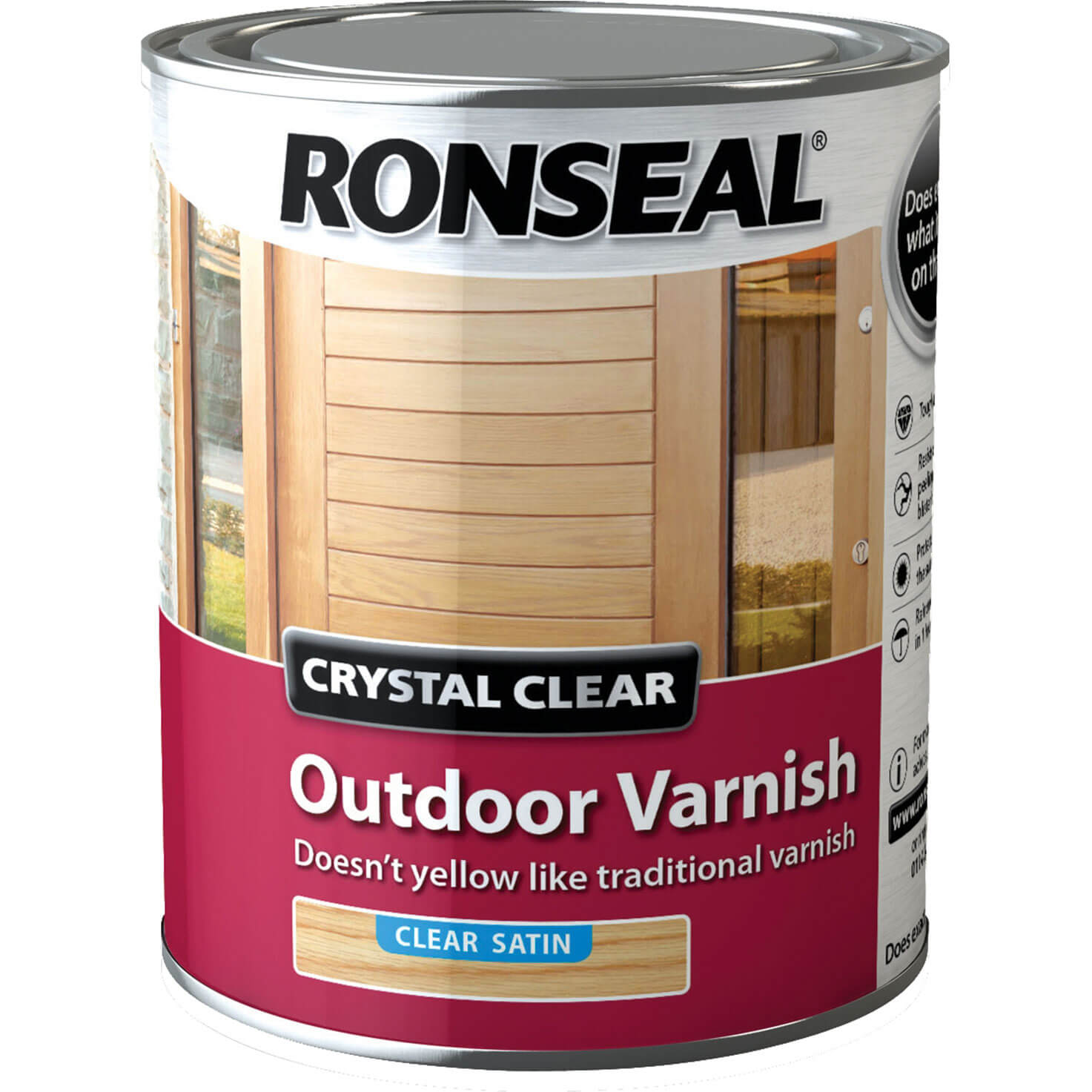 Image of Ronseal Crystal Clear Outdoor Varnish Satin 750ml