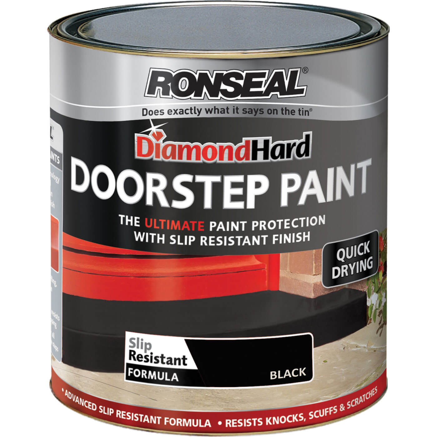 Image of Ronseal Diamond Hard Door Step Paint Black 250ml