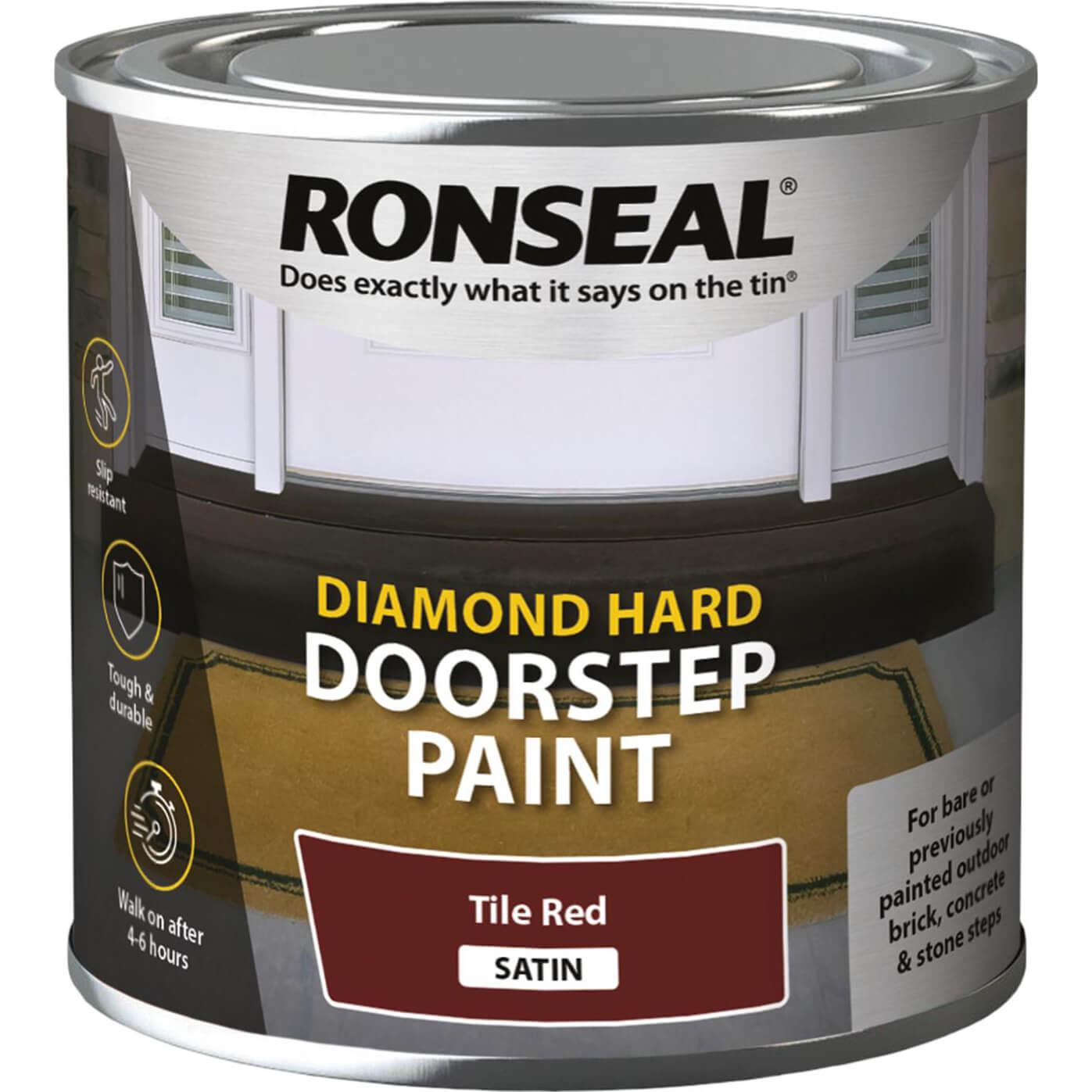 Image of Ronseal Diamond Hard Door Step Paint Tile Red 250ml