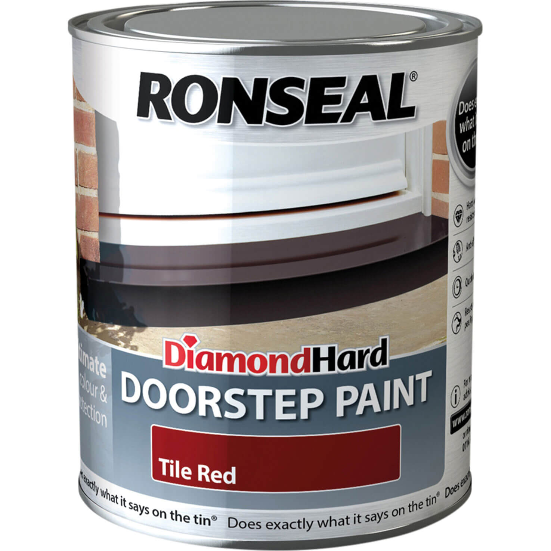 Image of Ronseal Diamond Hard Door Step Paint Tile Red 750ml