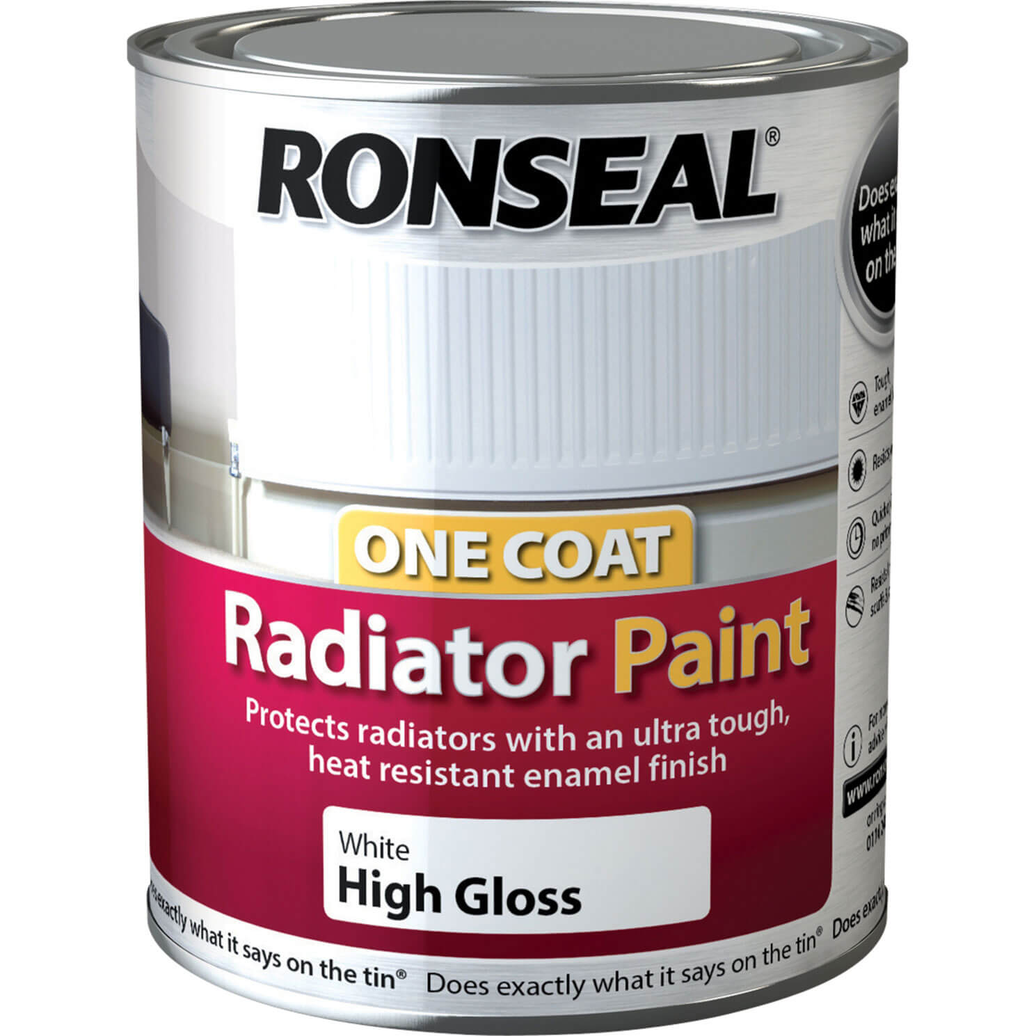 Ronseal one coat radiator paint white satin 250ml tooled for One coat white paint