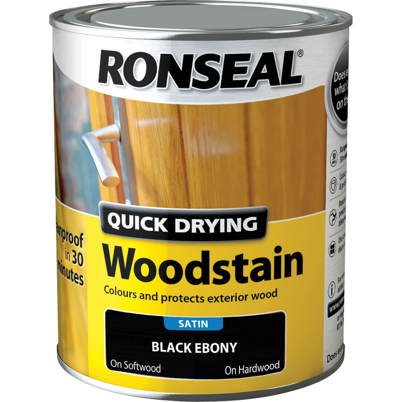 Ronseal Quick Dry Satin Woodstain Ebony 750ml