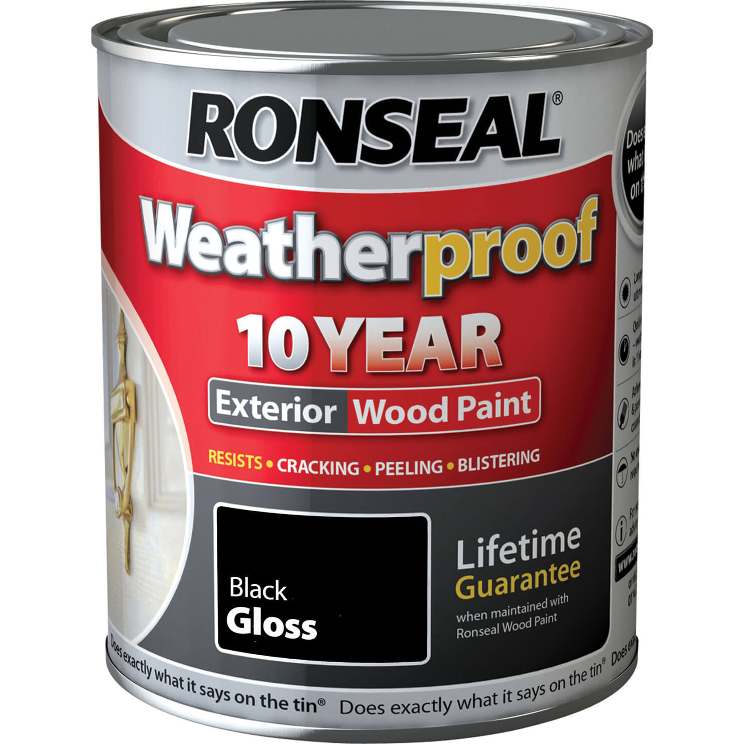 Ronseal Weatherproof 10 Year Exterior Wood Paint Black Gloss 25 Litre