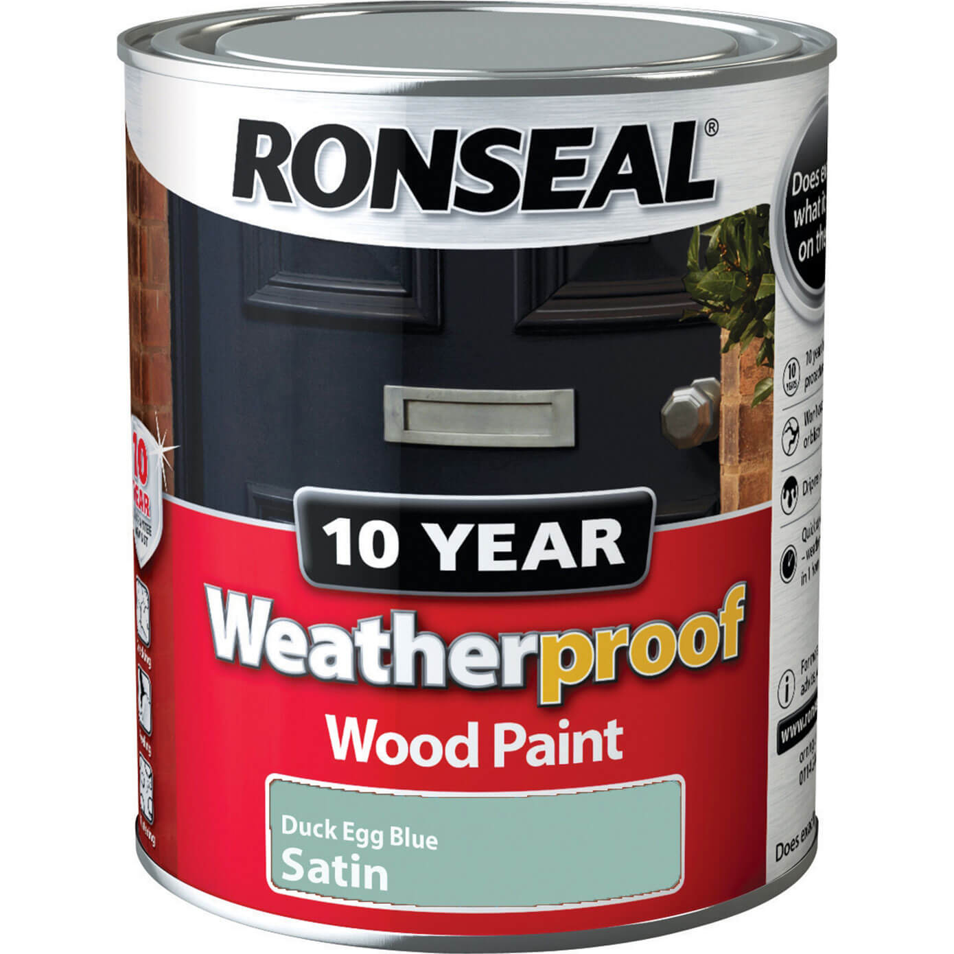 Ronseal Weatherproof 10 Year Exterior Satin Wood Paint Duck Egg Blue 750ml