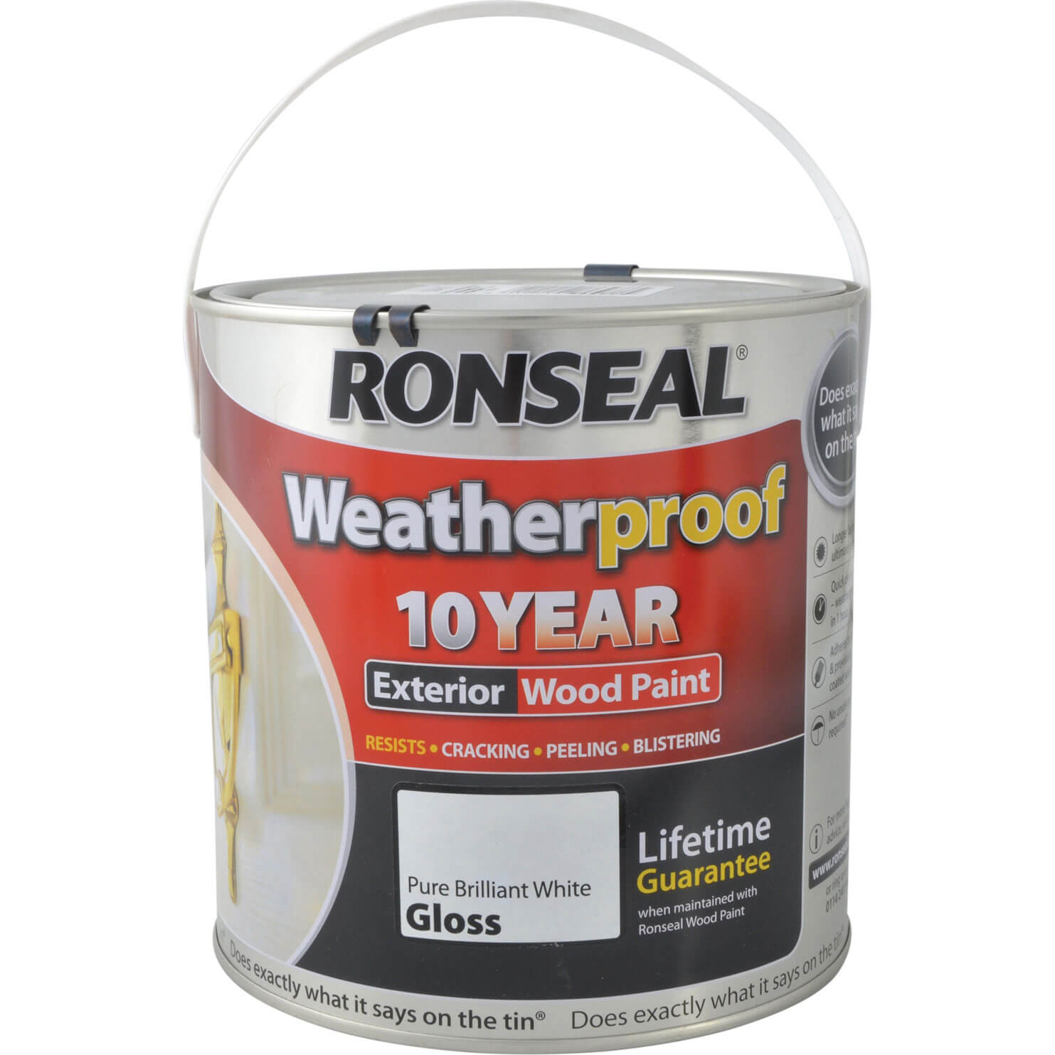 Ronseal weatherproof 10 year exterior wood paint brilliant white gloss 2 5l tooled - Exterior white gloss paint image ...