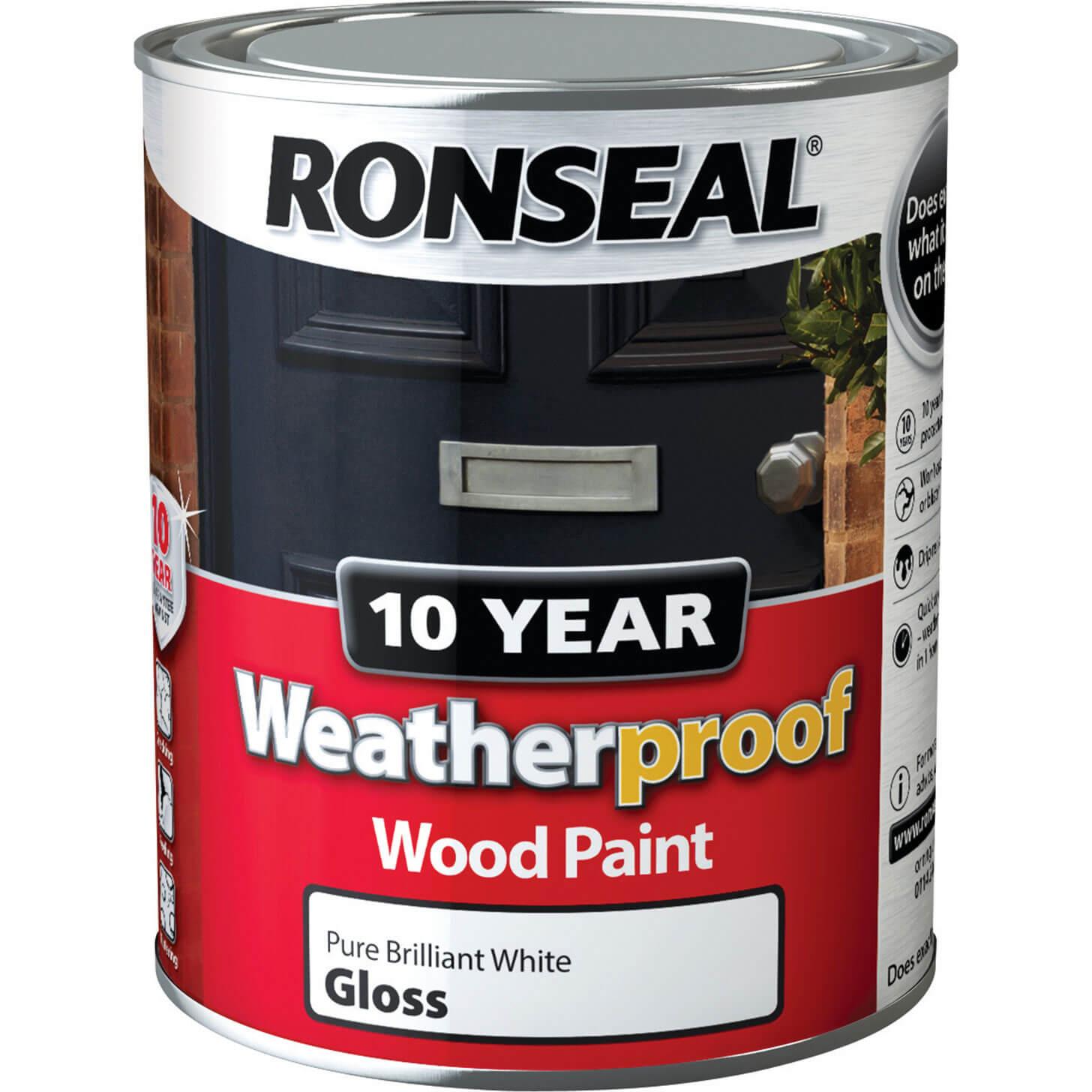 Ronseal Weatherproof 10 Year Exterior Gloss Wood Paint White 750ml