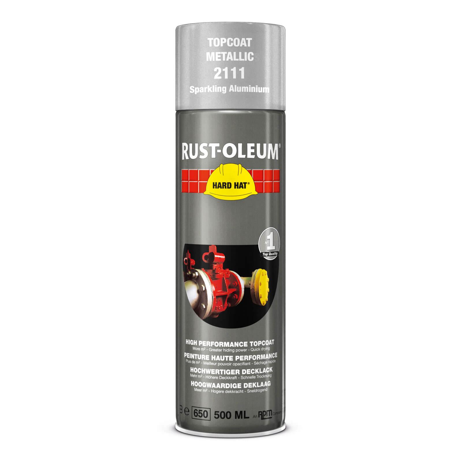 Rust Oleum Hard Hat Metal Metallic Spray Paint Sparkling Aluminium 500ml
