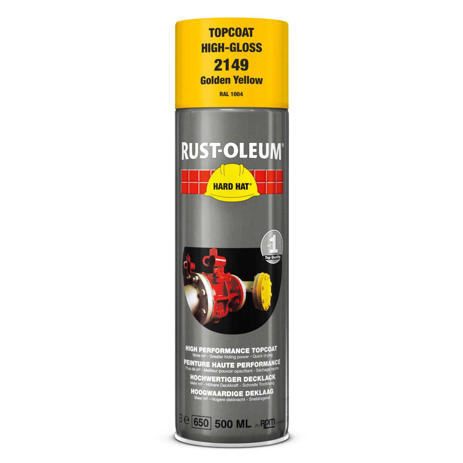 Rust Oleum Hard Hat Metal Spray Paint Golden Yellow 500ml