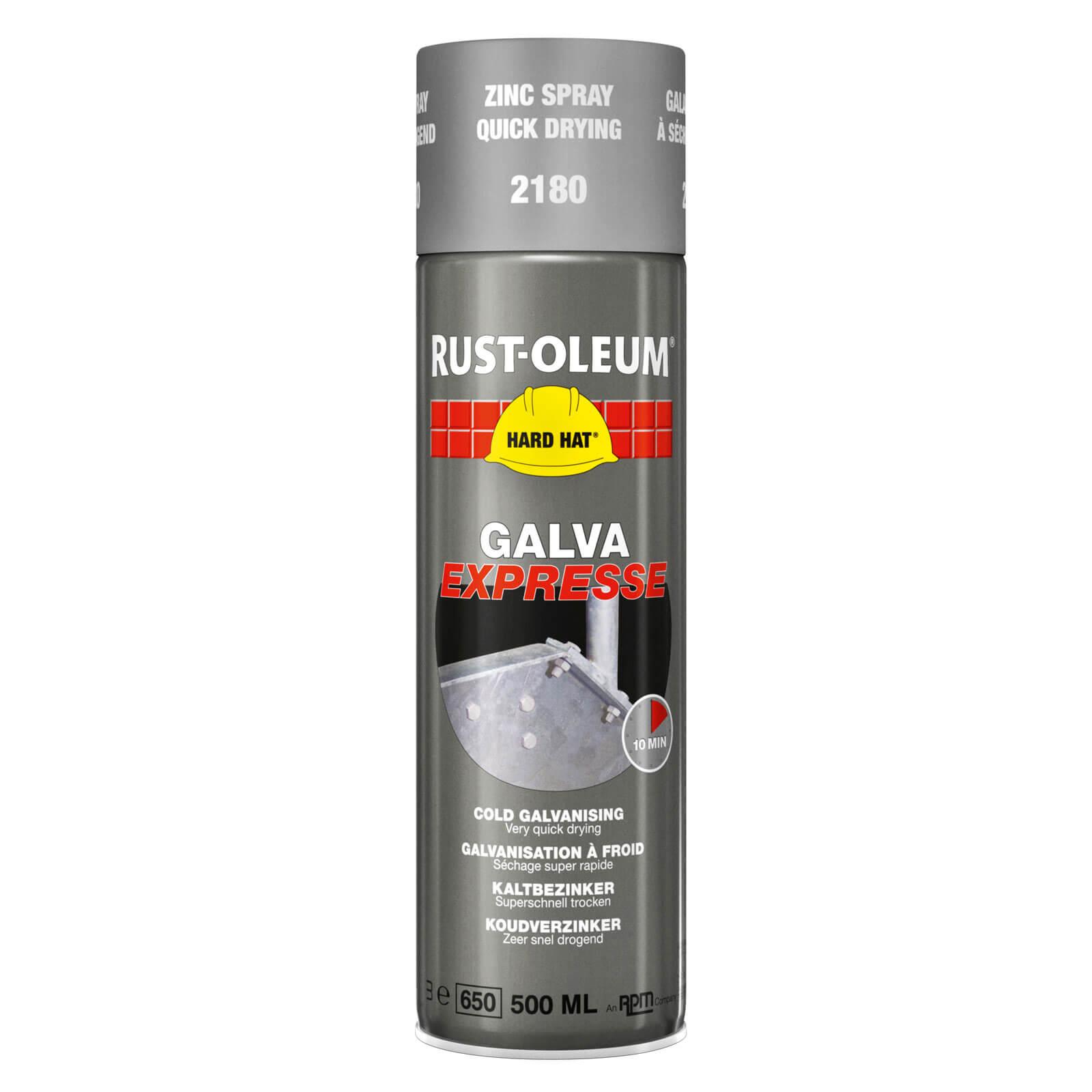Image of Rust Oleum Hard Hat Galva Express Metal Spray Galvanizing Zinc 500ml
