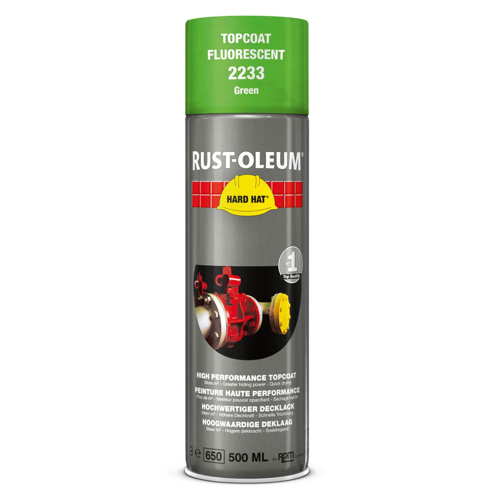 Image of Rust Oleum Hard Hat Fluorescent Spray Paint Green 500ml