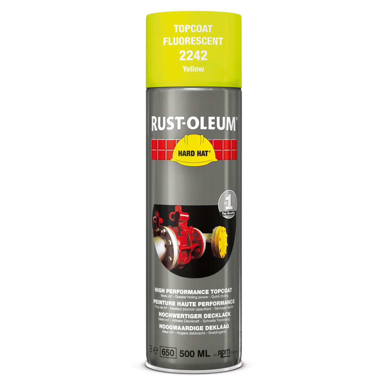 Rust Oleum Hard Hat Fluorescent Spray Paint Yellow 500ml