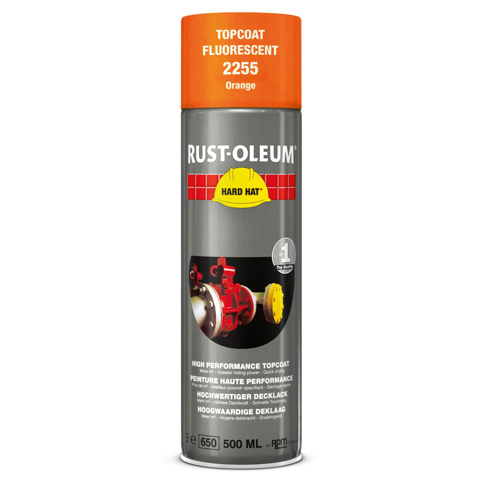 Image of Rust Oleum Hard Hat Fluorescent Spray Paint Orange 500ml