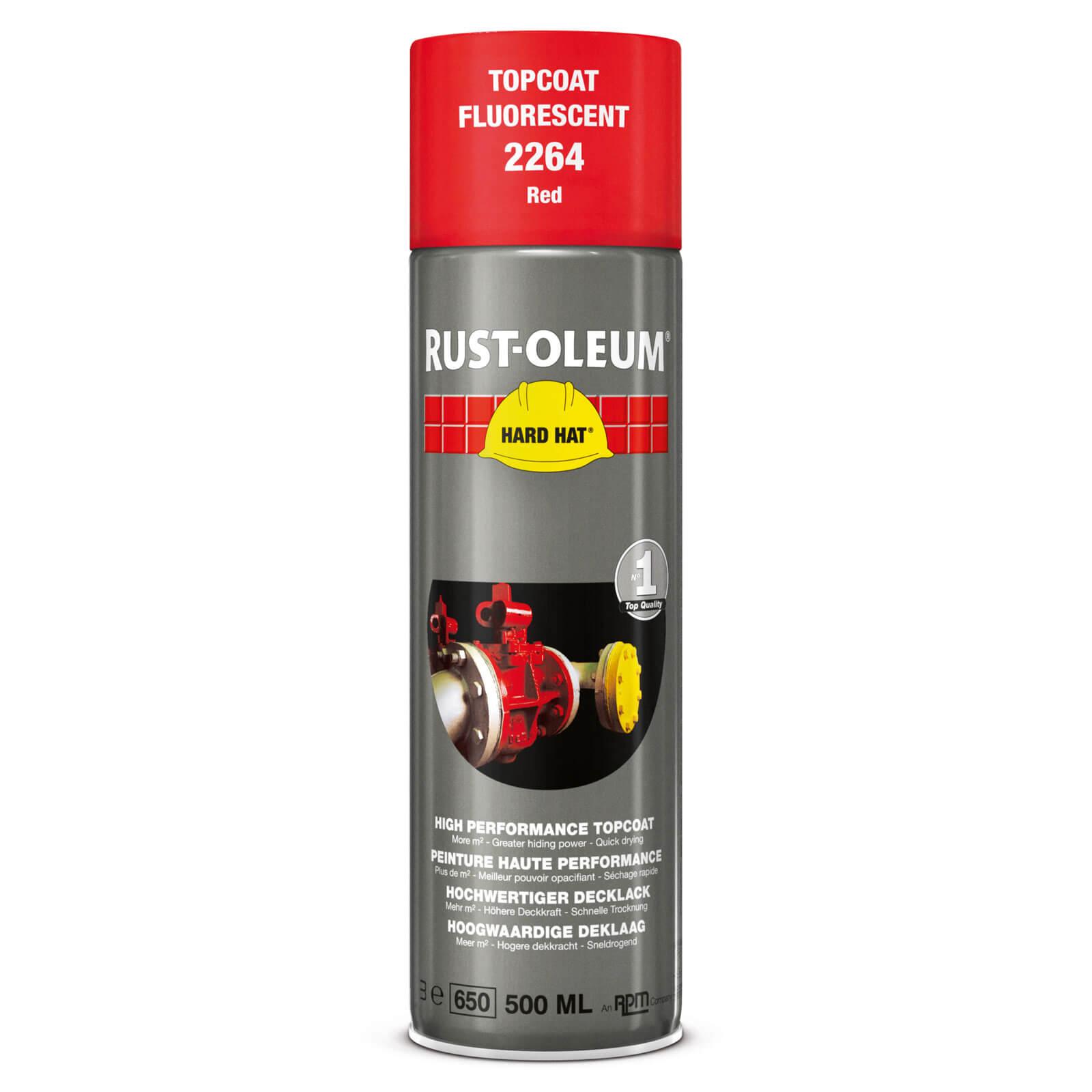Image of Rust Oleum Hard Hat Fluorescent Spray Paint Red 500ml