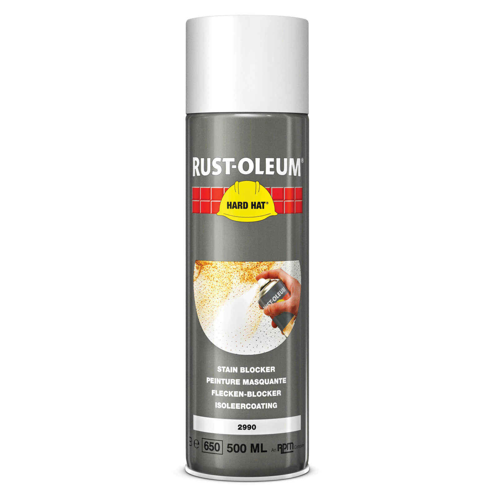 rust oleum 2990 stain blocker matt white aerosol spray paint 500ml. Black Bedroom Furniture Sets. Home Design Ideas
