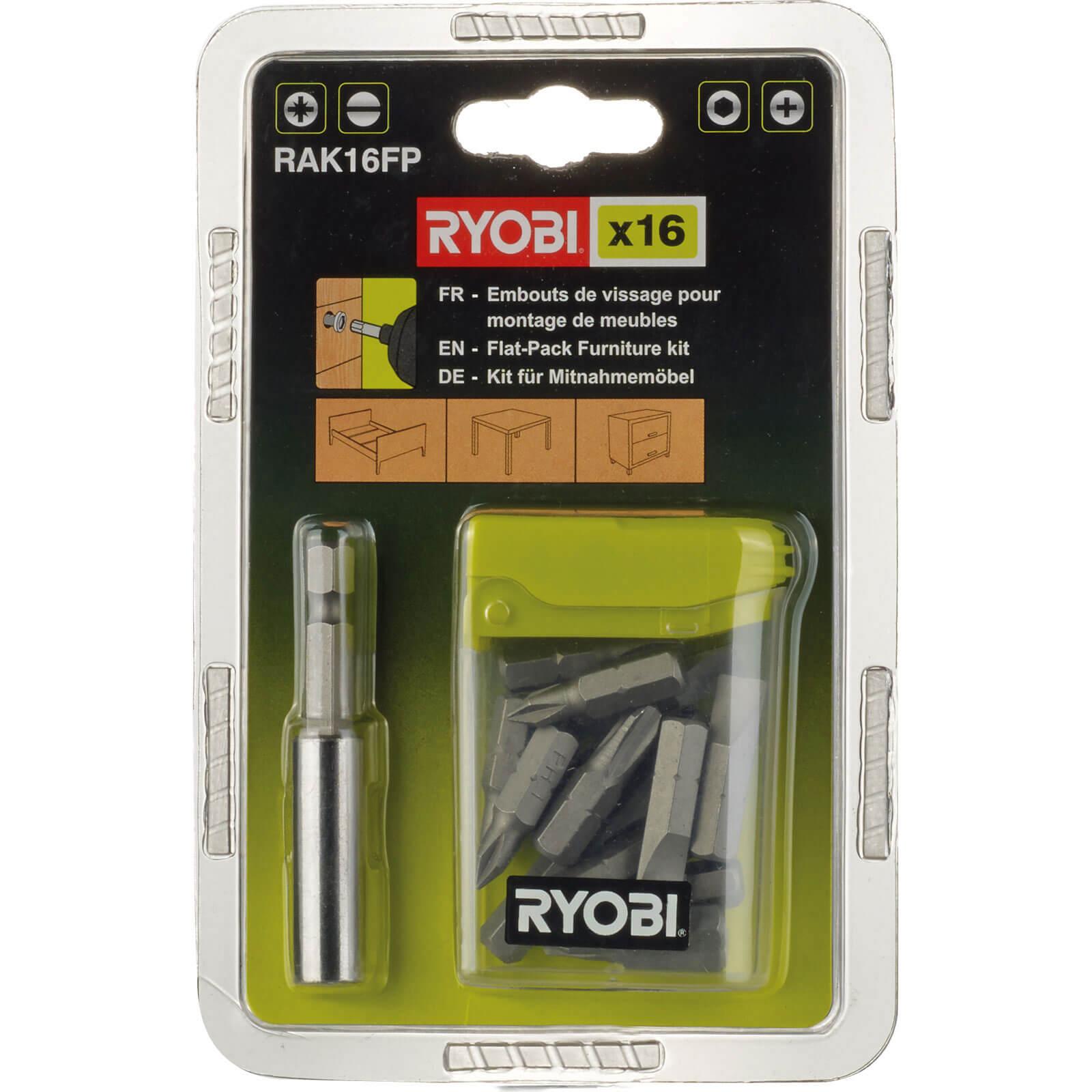 Image of Ryobi 16 Piece Flat Pack Furniture Screwdriver Bit Set