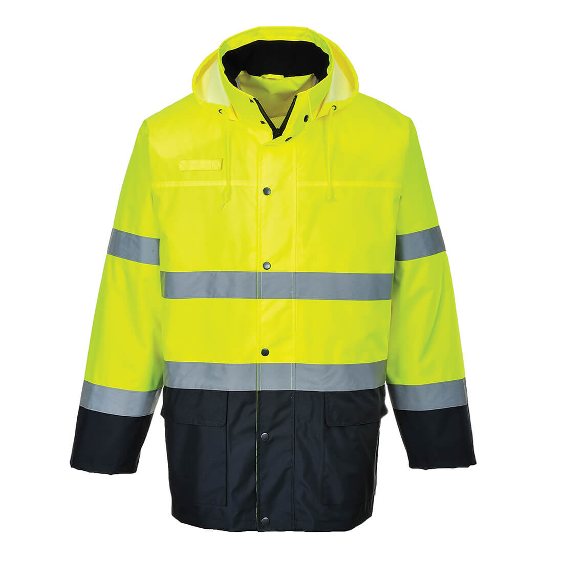 Image of Oxford Weave 150D Class 3 Lite Hi Vis 2-Tone Traffic Jacket Yellow / Navy 2XL